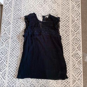 Rebecca Minkoff eyelet lace pleated black blouse